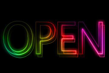 open sign in neon style