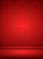 Hintergrund mit Ornament in rot