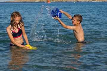 Kids plaing in water