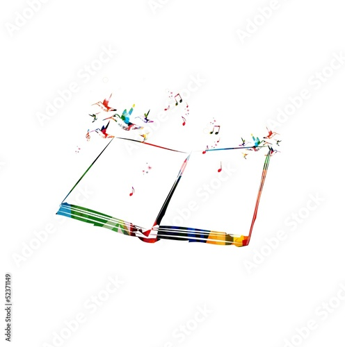 Colorful vector book with hummingbirds