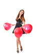 beautiful girl with red balloon in form heart