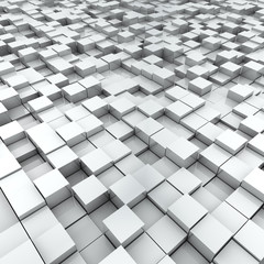 White split-level cubes surface background.