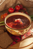 Traditional Russian and Ukrainian Borscht Soup with brown bread
