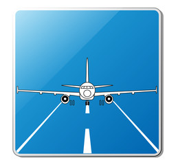 Airport sign. Illustration of the jet airplane on the runway