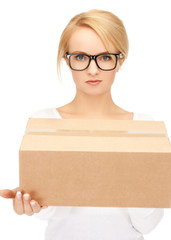 woman with cardboard box
