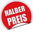 Sticker rot rund cu HALBER PREIS