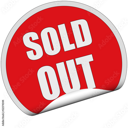 Sticker rot rund cu SOLD OUT