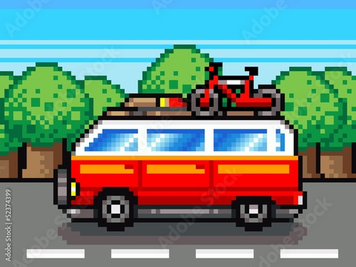 car going for summer holiday trip - retro pixel illustration