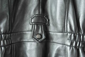 Rückansicht einer schwarzen Lederjacke
