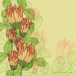 Retro greeting card with clover flowers and leaves. Eps10