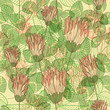 Seamless vintage elegant background with clover flowers. Eps10