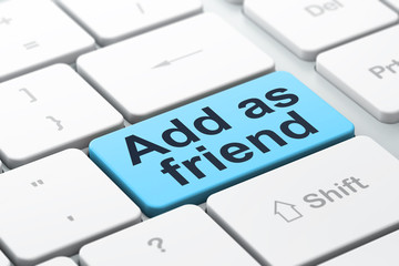 Social media concept: Add as Friend on computer keyboard backgro