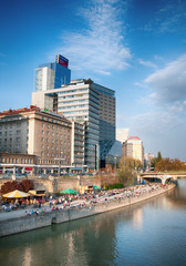 Riverbank of the River Danube in Vienna (Austria)