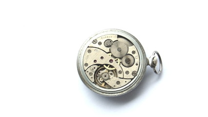 Rückansicht eines alten russischen Taschenuhrkalibers