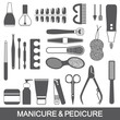 Manicure and pedicure tools and products vector silhouette set