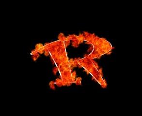 Letra R en llamas