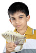 Little Boy with Indian Rupee