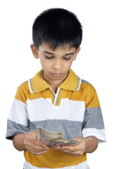 Indian Little Boy Counting Money