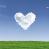 Heart shape cloud on field poster