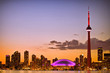 View of Toronto cityscape during sunset