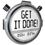 Get It Done Words Stopwatch Timer Complete Project Goal