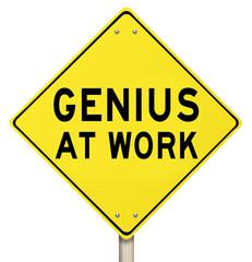 Genius At Work Yellow Road Sign Warning