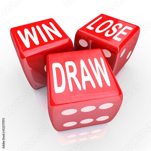 Win Lose Draw Words Three 3 Red Dice Competition Game