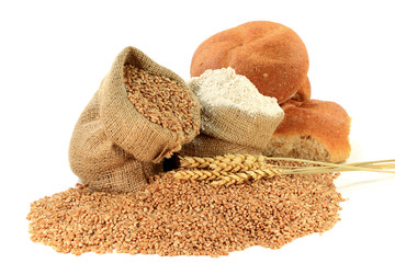 Wheat Kernels, Flour, Wheatears, Wheat Buns in Burlap Bags