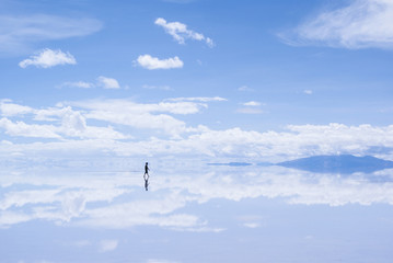 Walking Man in Salar de Uyuni, Bolivia