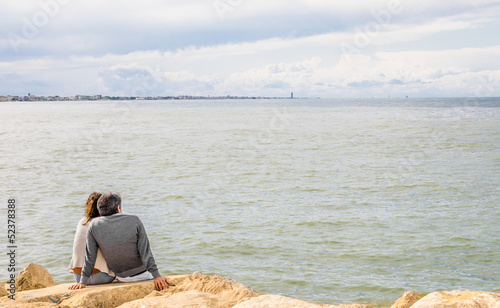 Couple in Love at the Sea