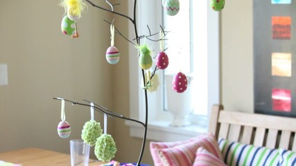 Easter dinner table and decorations