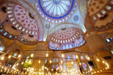 Interior of Blue Mosque (Sultanahmet Camii), Istanbul, Turkey