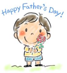 バラの花を持つ男の子