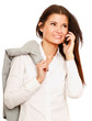 Happy businesswoman using mobile phone