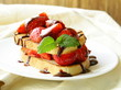 strawberry millefeuille with chocolate sauce