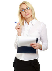 Young business woman with folder