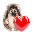Cute hedgehog has a Valentines heart