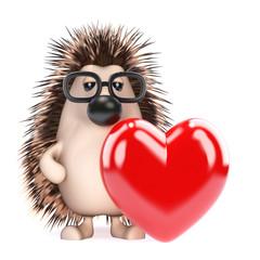 Cute hedgehog has a Valentines heart