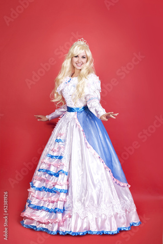 Cinderella woman, girl in new year costume