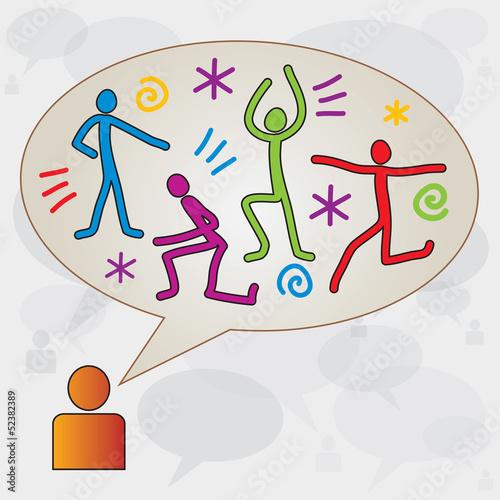 Personnage avec Boite Dialogue / Bulle et Icones Sport Fitness