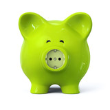 Green piggy bank with power outlet