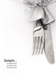 fork and knife with place for your text