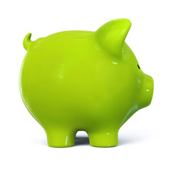 Green piggy bank - side view