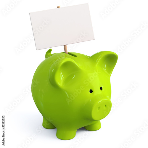 Green piggy bank with signboard