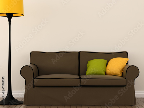 Sofa with a yellow floor lamp
