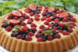 Fruit tart pie with fresh raspberry and blueberry
