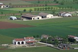 pianura padana in veneto with the citizens houses and fields and
