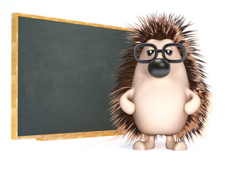 Cute hedgehog is a good teacher