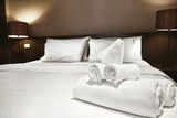 towels on bed
