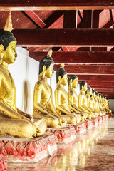gold buddha sitting at wat phra mahathat,
